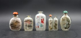 Group Of 5 Chinese Interior Painted Snuff Bottles