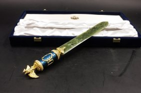 A FabergÉ Spinach Jade Letter Opener