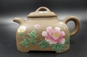 Chinese Enamel On Yixing Zisha Tea Pot