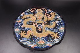 Chinese Qing Dynasty Dragon Embroidery Panel