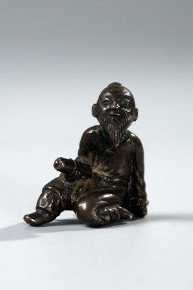 Chinese Bronze Scholar Figure Paper Weight