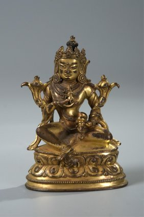 Chinese Gilt Bronze Figure Of Vajrapani