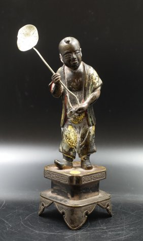 Chinese Qing Dynasty Bronze Figure Of Boy
