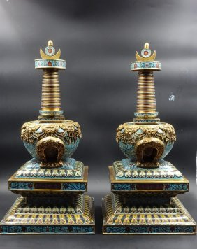 Pair Chinese Cloisonne Stupa