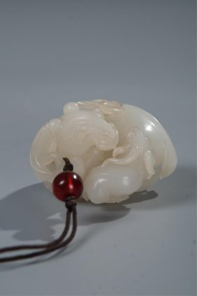 Chinese White Jade Toggle Carved Sheep