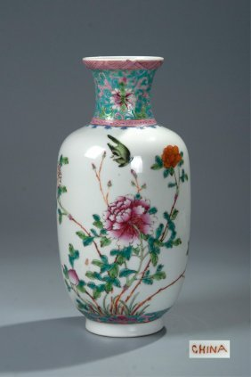 Chinese Famille Rose Flower Vase