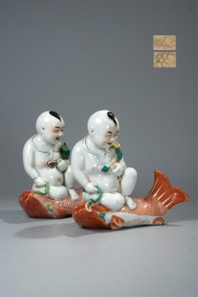 Pair Of Chinese Famille Rose Porcelain Boys