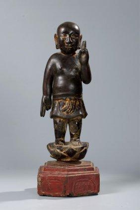 Chinese Gilt Lacquer Wood Figure Of Gautama Buddha
