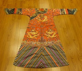 Chinese Qing Dynasty Red Dragon Summer Robe