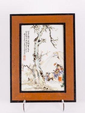 Chinese Painted Porcelian Plaque, Republic Period