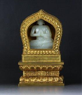 Chinese White Jade Buddha W/ Gilt Bronze Encasing