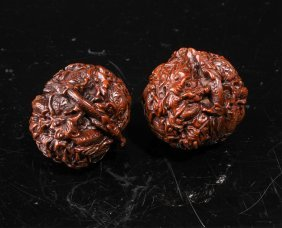 Pair Of Qing Dynasty Carved Walnuts