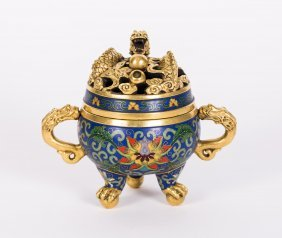 Chinese Cloisonne Tripod Incense Burner