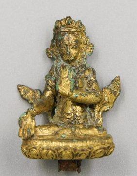 17th Century Napalese Gilt Bronze Buddha