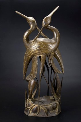 Chinese Gilt Bronze Sculpture Of 2 Cranes