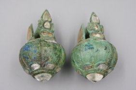 Cambodian Angkor Bronze Inlaid Crystal Earrings