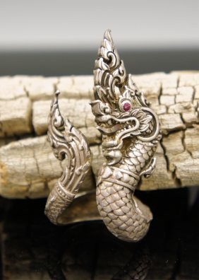 20th Century Silver Dragon Ring
