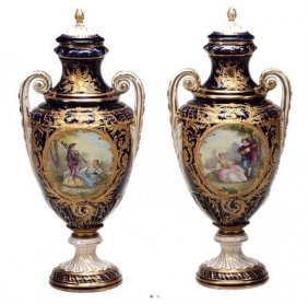 A Pair Sevres Porcelain Vases Circa 1900