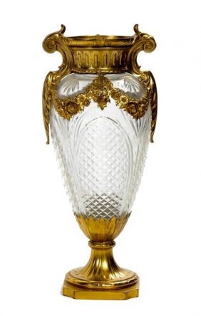 Baccarat Crystal And Dore Bronze Vase