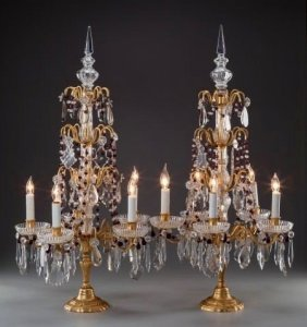 A Pair Of Baccarat-style Gilt Bronze And Cut-glass Lamp