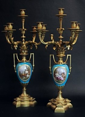 A Pair Of Monumental Ormolu Mounted Sevres Candelabra