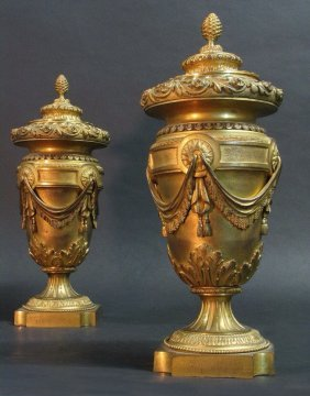 Pair Of 19th Century Gilt Bronze Vases