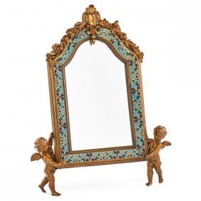 A Tiffany & Co Champleve Enameled Bronze Mirror