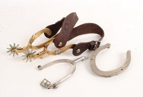 Pair Of Brass And Leather Spurs