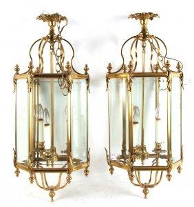 Pair Of Regency Style Brass Hanging Lanterns