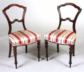Pair Of Victorian Mahogany Side Chairs