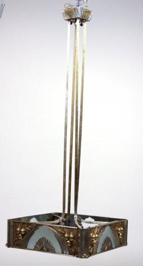 Art Deco Brass, Chrome, & Glass Lighting Fixture