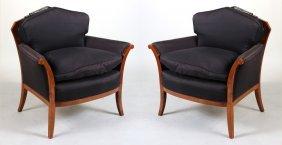 Pair Of Art Deco Part-ebonized Walnut Club Chairs