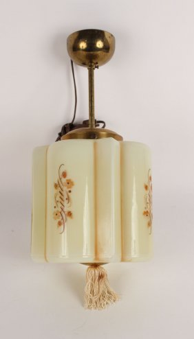 Art Deco Painted Glass Ceiling Fixture