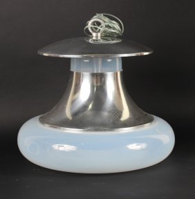 Modern Aluminum And Glass Globe Ceiling Fixture