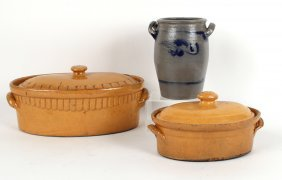 Two Oval Earthenware Covered Casserole Dishes