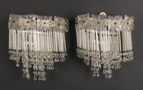 Pair Of Art Deco Crystal Prism Wall Sconces