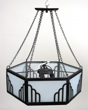 Art Deco Iron And Frosted Glass Chandelier