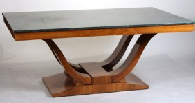 Art Deco Marble Top Walnut Dining Table