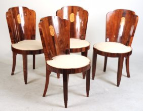 Four Art Deco Inlaid Mahogany Side Chairs