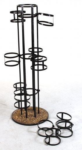 Black-painted Metal Stone-inset Stand
