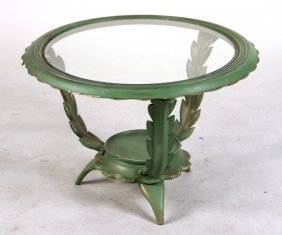 Green-and-gold Painted Glass Top Side Table