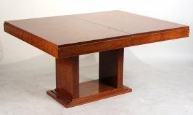 Art Deco Burl Walnut Dining Table