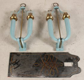 Pair Of Blue-painted Metal Two Arm Wall Sconces