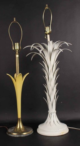White Metal Palm Tree Form Table Lamp