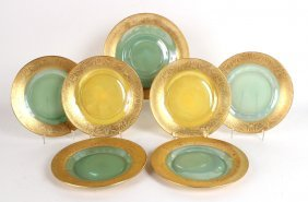 Color And Gilt Decorated Glass Dessert Set