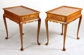 Pair Of Eldred Wheeler Tiger Maple Tea Tables