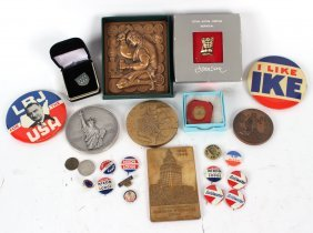 Group Of Political Buttons, And Medals