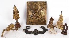 Five Thai Gil Metal Deity Figures