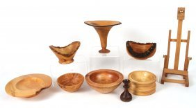Eight Assorted Wood Bowls And Stands