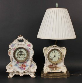 Two Ansonia Ceramic Clocks